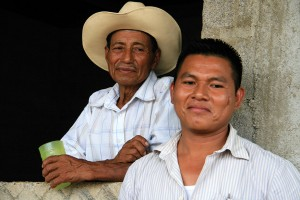 Wilmer Gutiérrez Gómez (right), a leader of AJWS grantee Coordinadora Chorotega, works to defend the land rights of indigenous communities. Photograph by Stefanie Rubin
