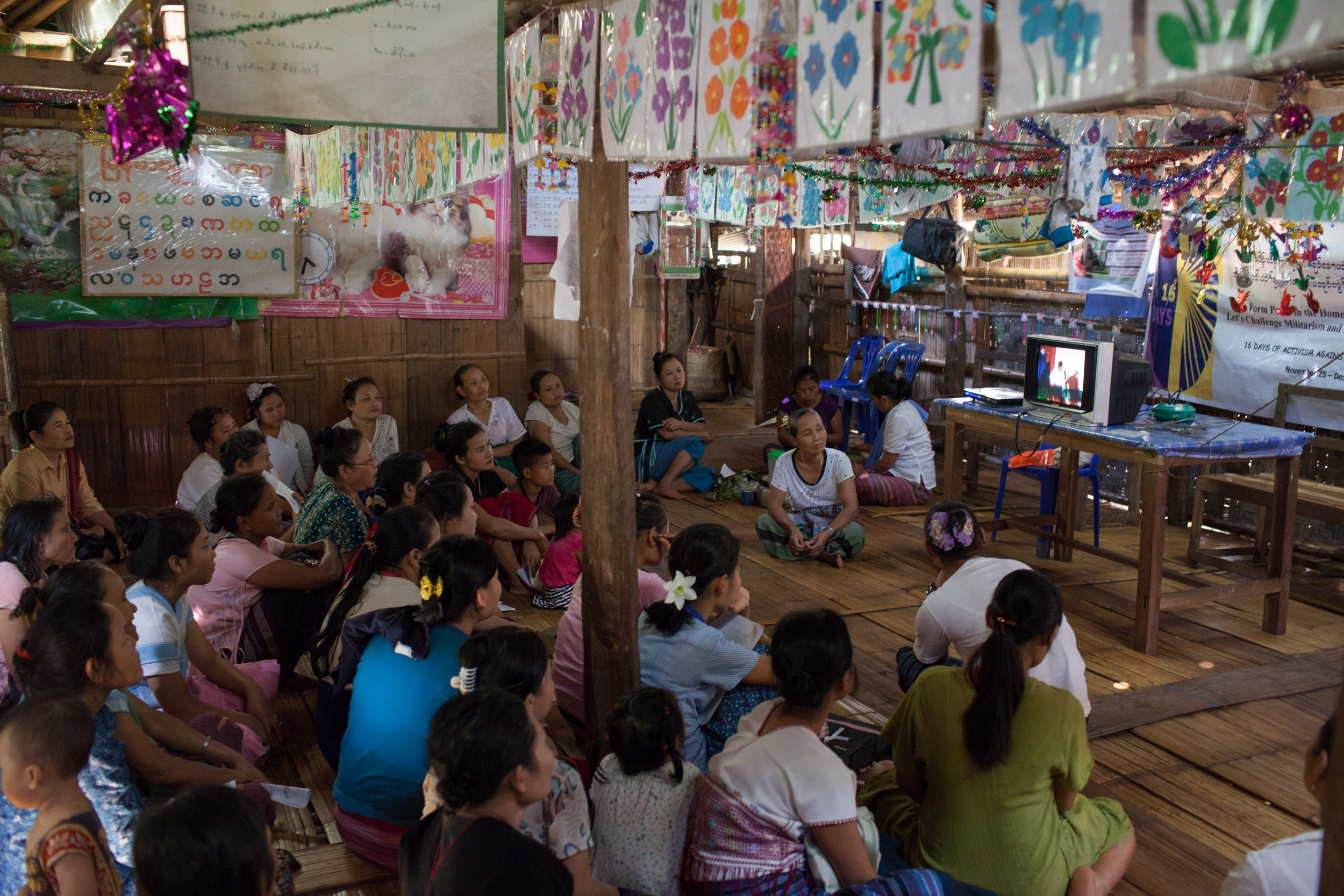 Karen women watch a movie on domestic violence.