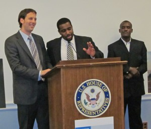 Ian Schwab, AJWS's associate director of advocacy (far left), speaks at a Haiti Advocacy Working Group event.