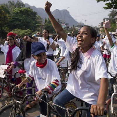 Nearly 100 women and girls rode through the busy streets of Mumbra in a bike rally for gender equality organized by Awaaz.