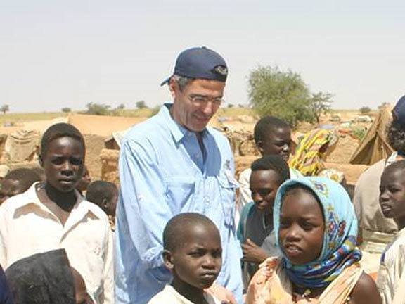 Rabbi Rick Jacobs visits a refugee camp just outside Darfur with AJWS in 2005.