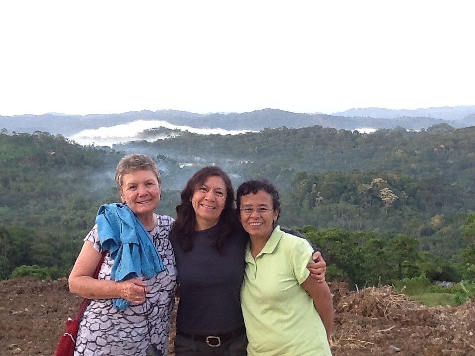 "Eridania ""Eri"" Martinez, founder of AJWS grantee Puente de Paz, with with Megan Thomas, AJWS consultant in Guatemala, and Angela Martinez, AJWS Senior Program Officer"
