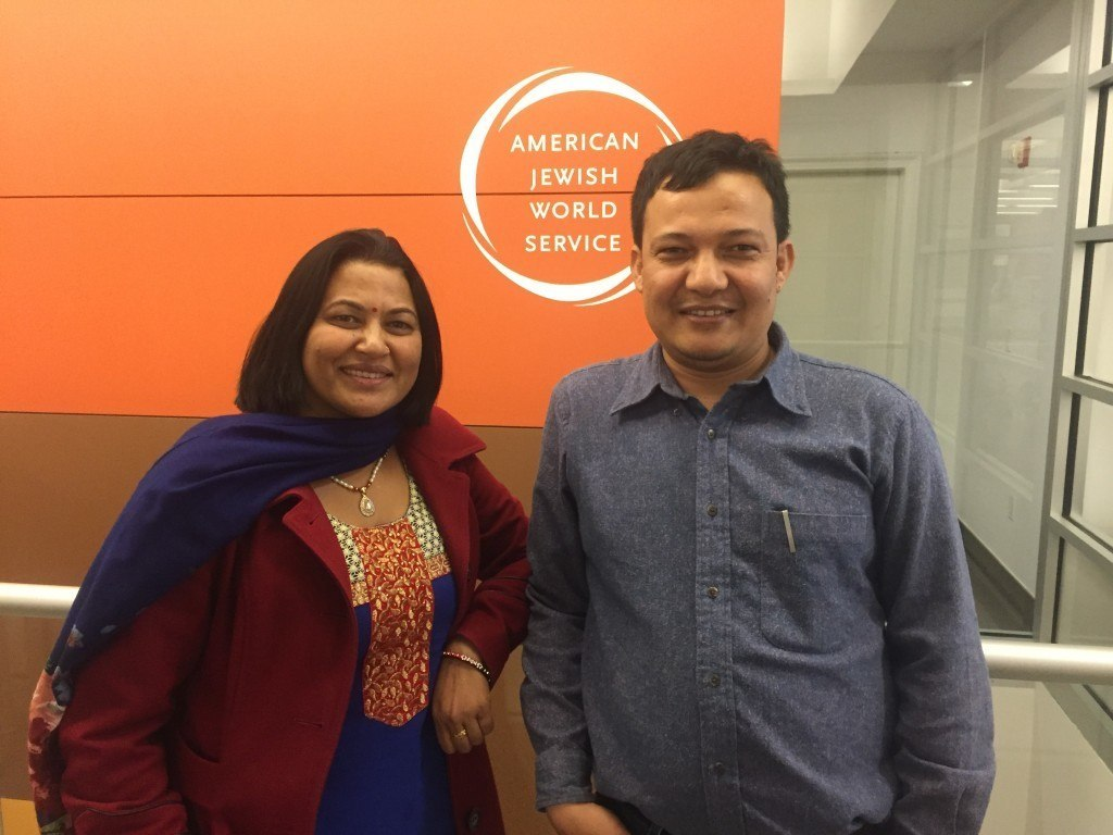 Bishnu Pariyar, founder of AJWS grantee ADWAN, with ADWAN staff member Tejendra Lama, during a recent visit to AJWS in New York.