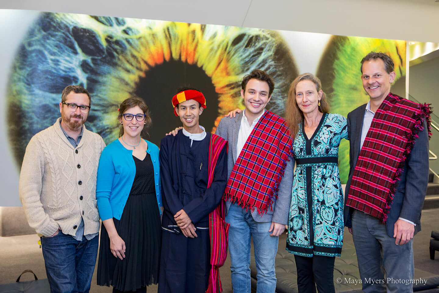 Mayim with Khit San and the filmmakers and panelists at the event. From left to right: Yosi Sergant, Mayim, Khun Khit San, Ben Proudfoot, Jeanne Hallacy and Johnny Symons.
