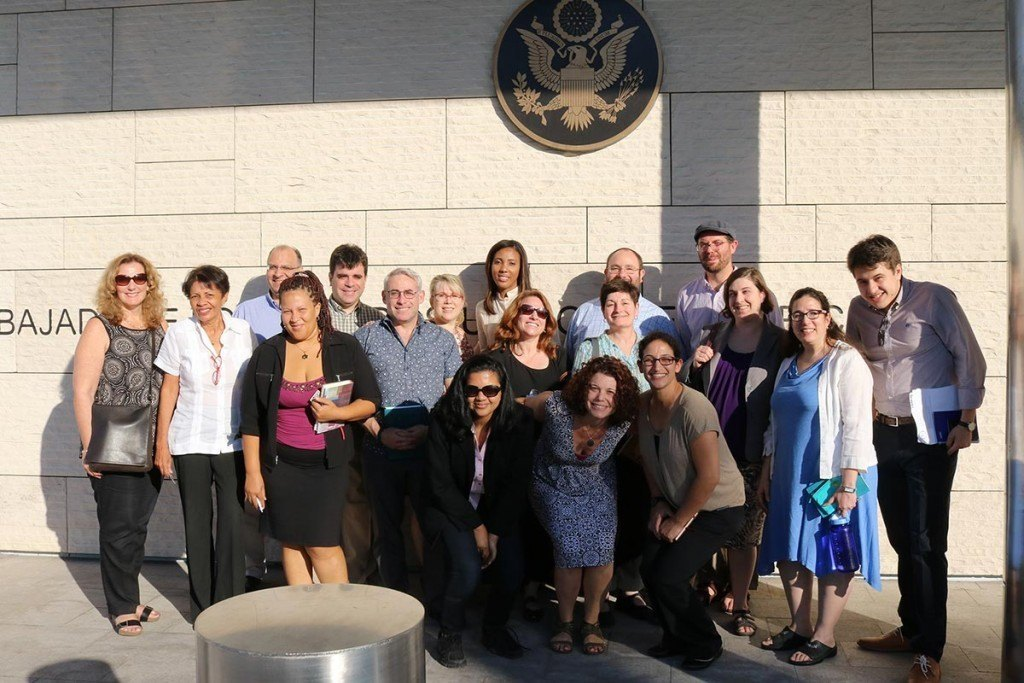 The Global Justice Fellows outside the U.S. Embassy in Santo Domingo.