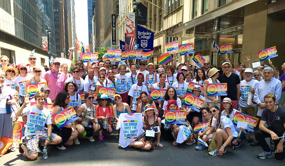 AJWS staff and supporters joined thousands to march in the New York City Pride Parade on June 26, 2016.