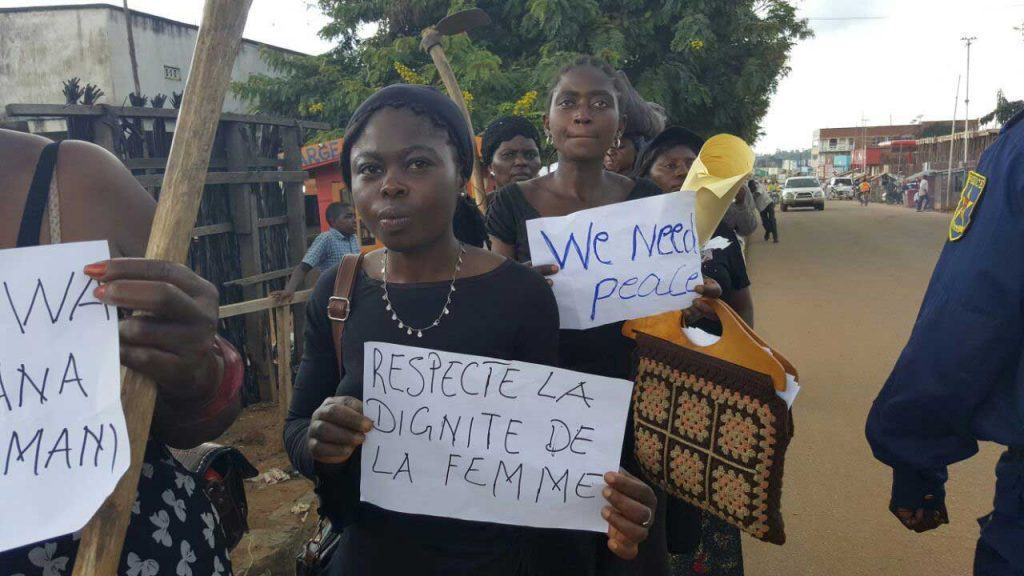 Members of Rien Sans Les Femmes (Nothing Without Women) marching in protest. Photo courtesy of Rien Sans Les Femmes