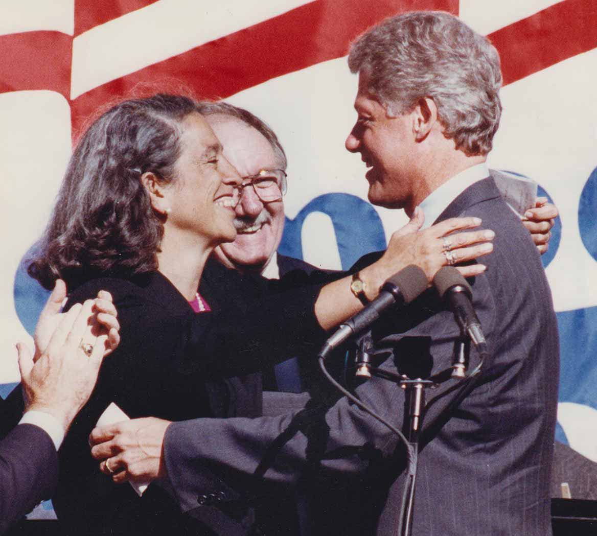 Ruth Messinger with President Bill Clinton at one of his 1992 campaign events.