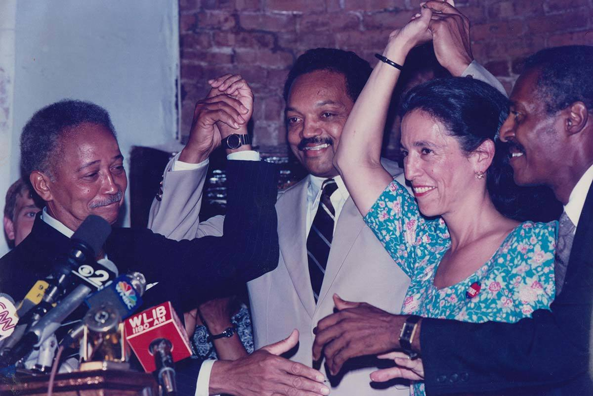 Ruth Messinger campaigning in 1989 along with activists Jesse Jackson and Rev. Herbert Daughtry for the New York City mayoral campaign of David Dinkins, far left. Dinkins was the first and, to date, only African American to hold that office.