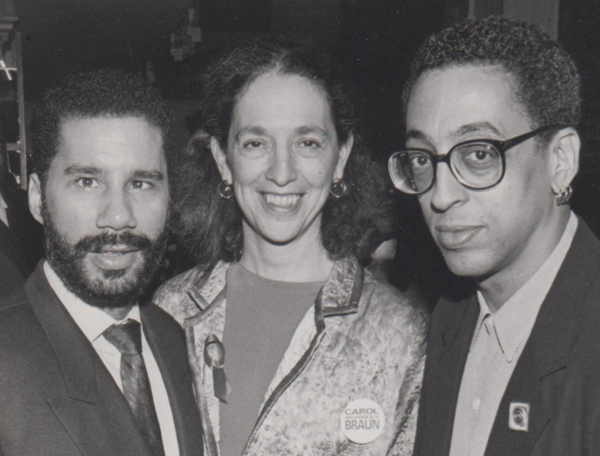 Ruth Messinger with then-New York State Senator David Paterson and the late Gregory Hines, dancer, actor, singer and choreographer campaigning in 1992 for Carol Moseley Braun, who became the first female African American senator, along with many other distinctions. Paterson was New York's first non-white state legislative leader and first African American governor.