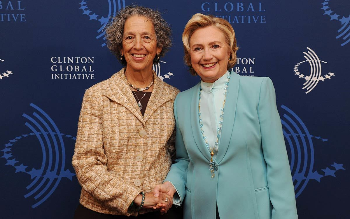 Ruth Messinger and Hillary Clinton at the 2013 annual meeting of the Clinton Global Initiative, which convenes global leaders to create and implement innovative solutions to the world's most pressing challenges.
