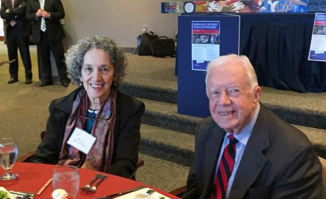 Ruth and President Jimmy Carter at a 2015 Carter Center event on ending violence against women.