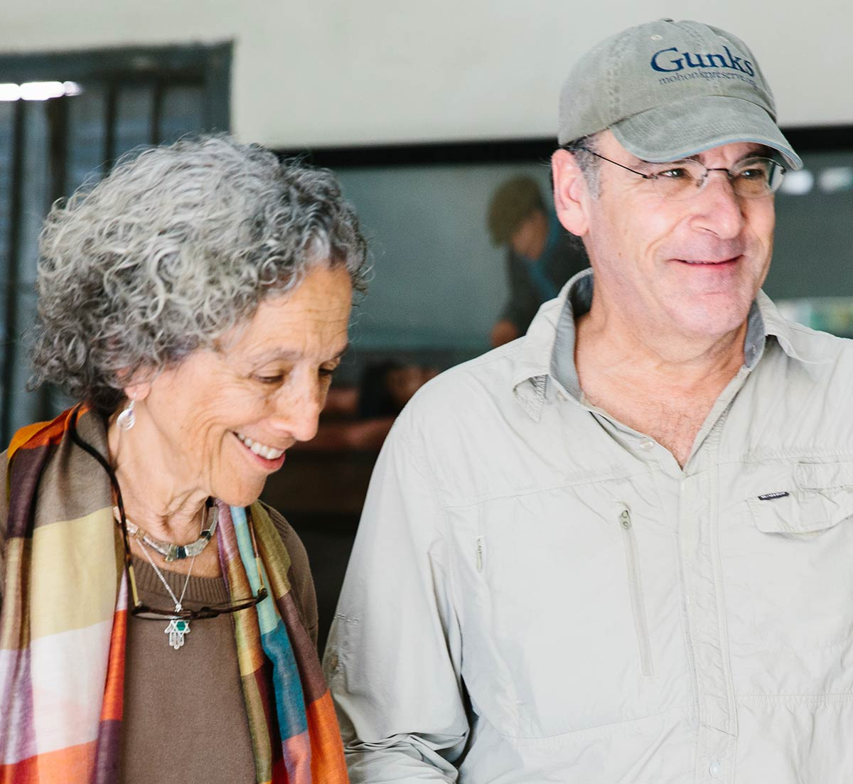 Ruth Messinger and award-winning actor and singer Mandy Patinkin on an AJWS Study Tour to Cambodia in 2016.