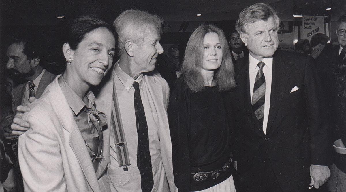 "Ruth Messinger with some powerful supporters of her Manhattan Borough President campaign in 1989: the late Michael Harrington, a democratic socialist, political activist, theorist and educator, and author; nationally recognized feminist, journalist and activist Gloria Steinem; and the late Edward ""Ted"" Kennedy, the third longest-serving member of the United States Senate. Photograph by Richard Laird"