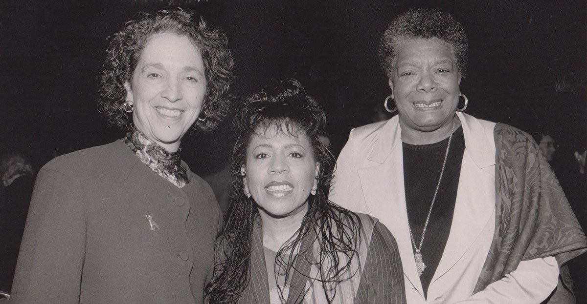 Ruth Messinger (left) with singer Valerie Simpson and Maya Angelou, the late, acclaimed poet, memoirist and civil rights activist. Photograph by Eduardo Patino