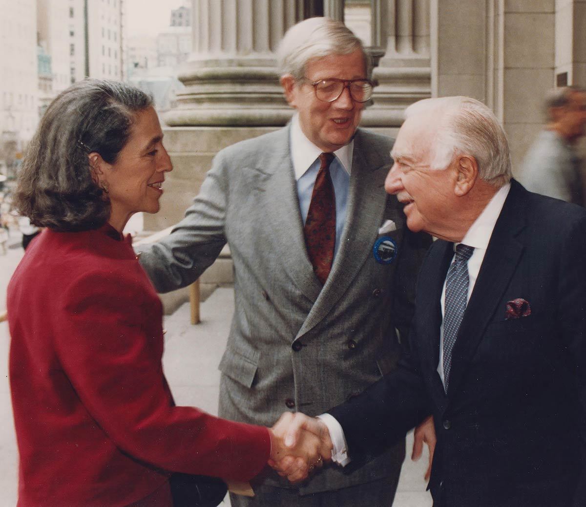 Ruth Messinger; William Luers, then-head of the Metropolitan Museum of Art in New York; and legendary newscaster Walter Cronkite in the 1980s.