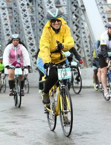 Ruth Messinger crosses the Manhattan Bridge in the 2016 TD Five Boro Bike Tour. Photograph by MarathonFoto