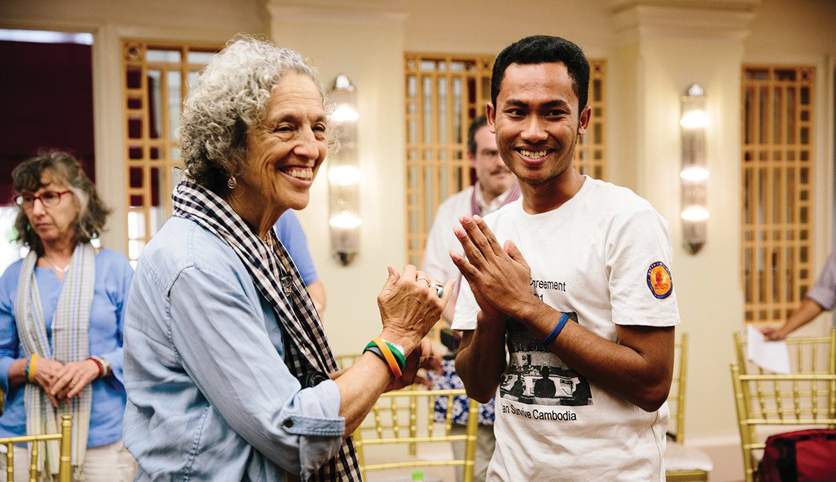 Ruth Messinger with a member of Cambodian Youth Network, an AJWS grantee that empowers young people to pursue democracy and social change. Photograph by Christine Han