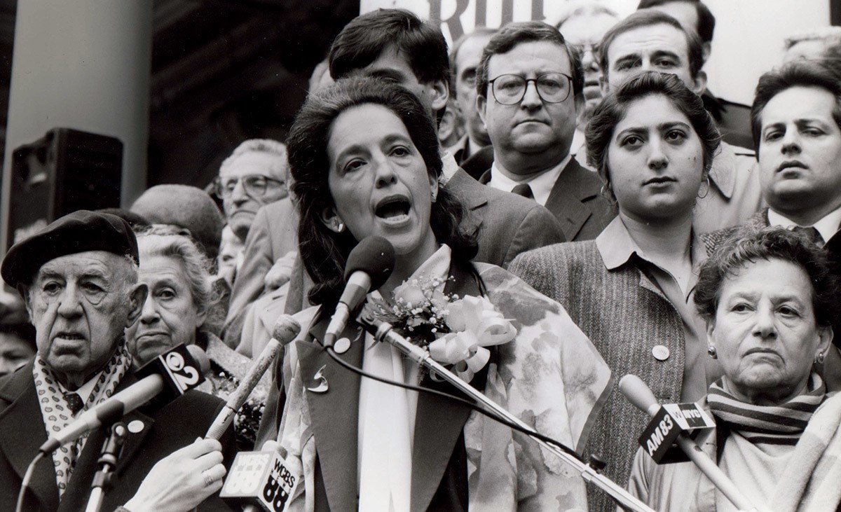 Ruth Messinger announcing her candidacy for Manhattan Borough President in 1989. Photograph by Marty Sonnenfeld