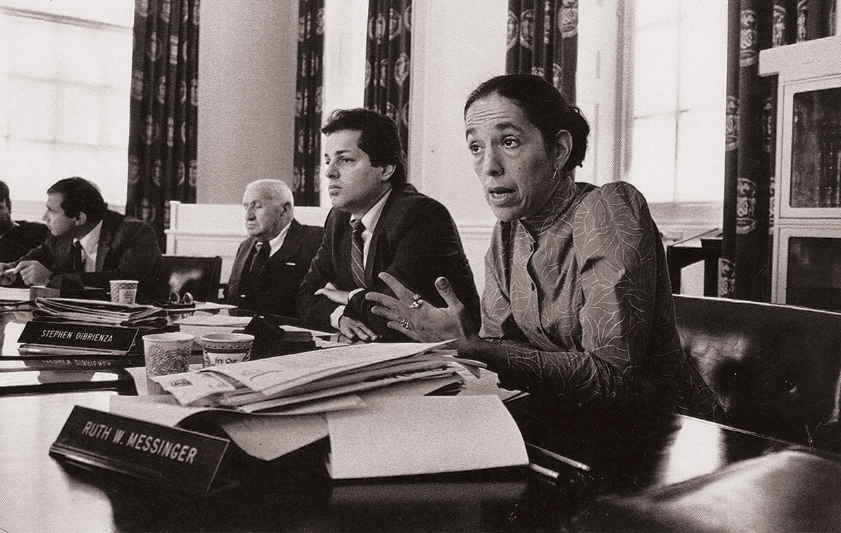 Ruth Messinger at a committee meeting of the New York City Council at City Hall in 1987. Photograph by Arthur Leipzig