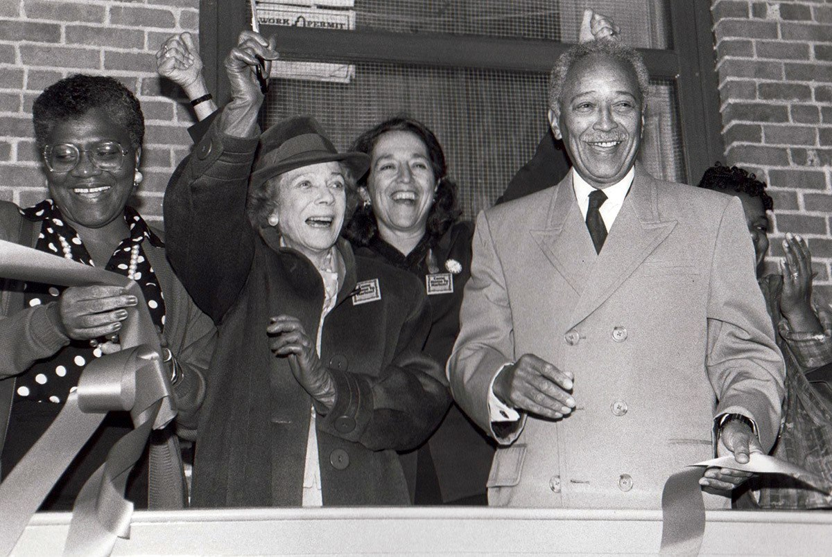 Ruth Messinger (in rear) with City Councilwoman C. Virginia Fields, philanthropist Brooke Astor, and Mayor David Dinkins in 1992.