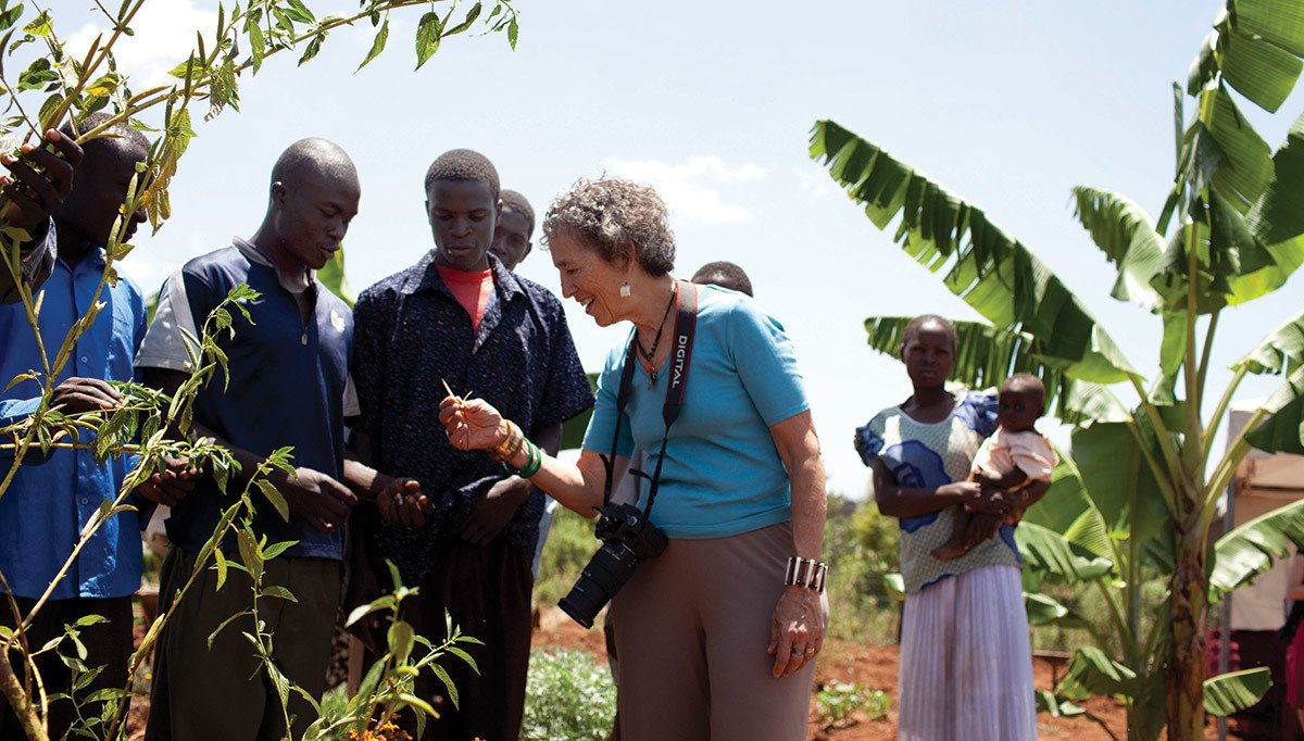 Ruth Messinger meets in 2010 with members of Kilili Self-Help Project, a former AJWS grantee in Kenya that helps small-scale farmers thrive. Photograph by Evan Abramson