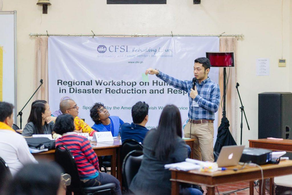 Advocates from five countries gather at an AJWS sponsored workshop in the Philippines to learn about disaster response work. Photo by Ben Beringuela
