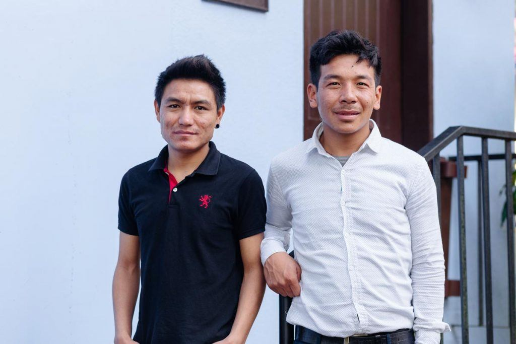 Chhime (left) and Pasang (right) traveled from Nepal's remote Langtang Valley to the Philippines to learn more about disaster response. The two men have supported their community in the aftermath of the 2015 earthquakes in Nepal. Photo by Ben Beringuela