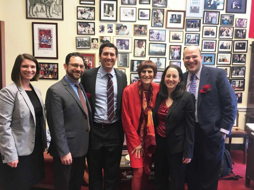 Meeting with Representative Rosa DeLauro in Washington, D.C. Left to right, AJWS staff members Jenn Lavelle and Joseph Gindi, Rabbi Joshua Ratner, Representative DeLauro, Rabbi Annie Lewis, and me. Photo by Richard Greenhouse