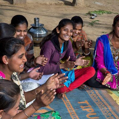 Vaishali (center) joins in group activities for young women at Vikalp.
